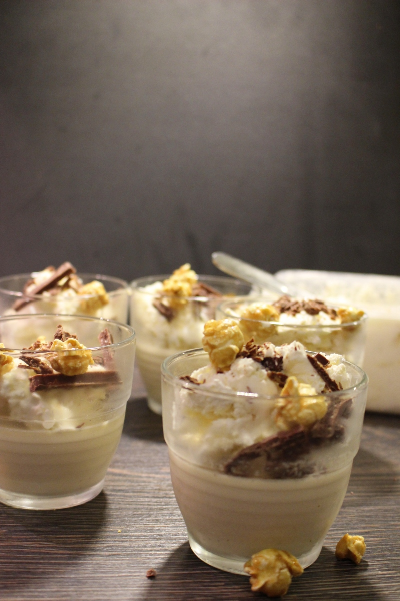 Salted caramel pannacotta with popcorn ice cream