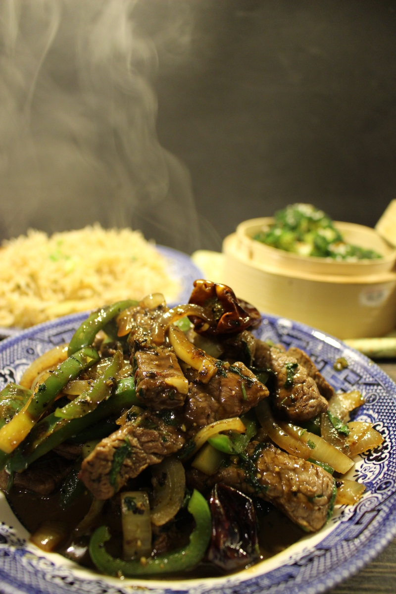Chinese Style Beef with Green Peppers and Pepper and Honey sauce.