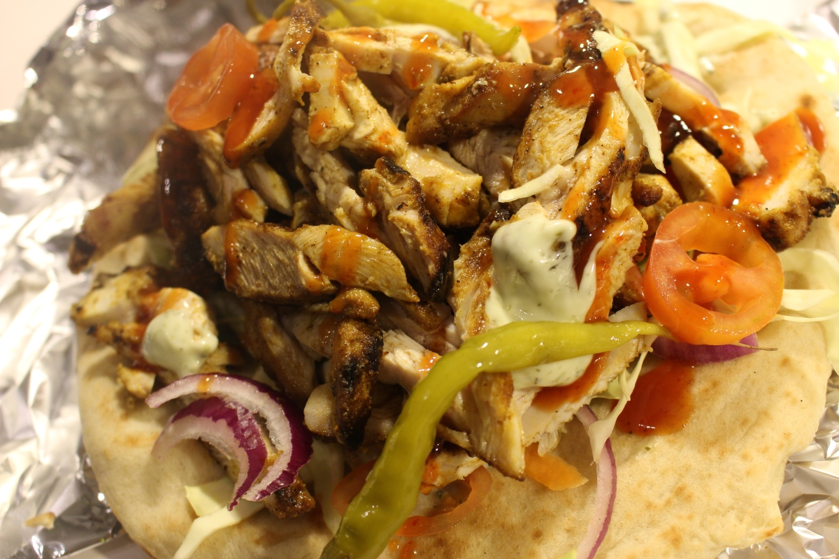 Chicken Shawarma Kebab with salad and sauce!